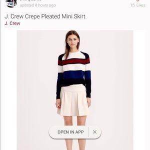 JCrew Crepe Pleated Mini Skirt